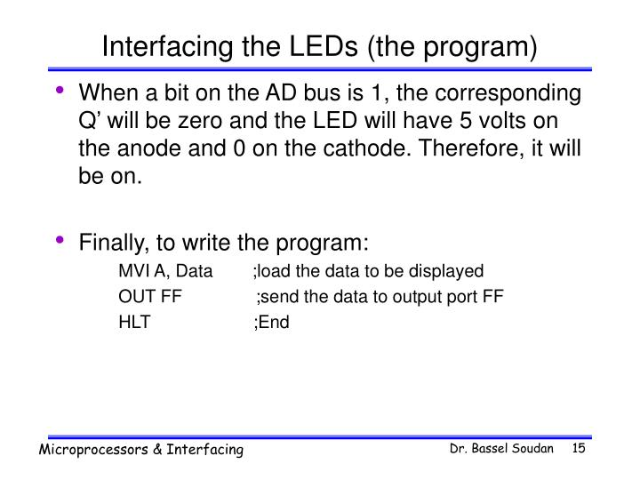 Interfacing the LEDs (the program)