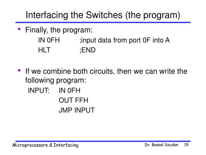Interfacing the Switches (the program)