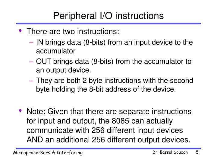 Peripheral I/O instructions