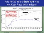 and for 20 years state aid has not kept pace with inflation
