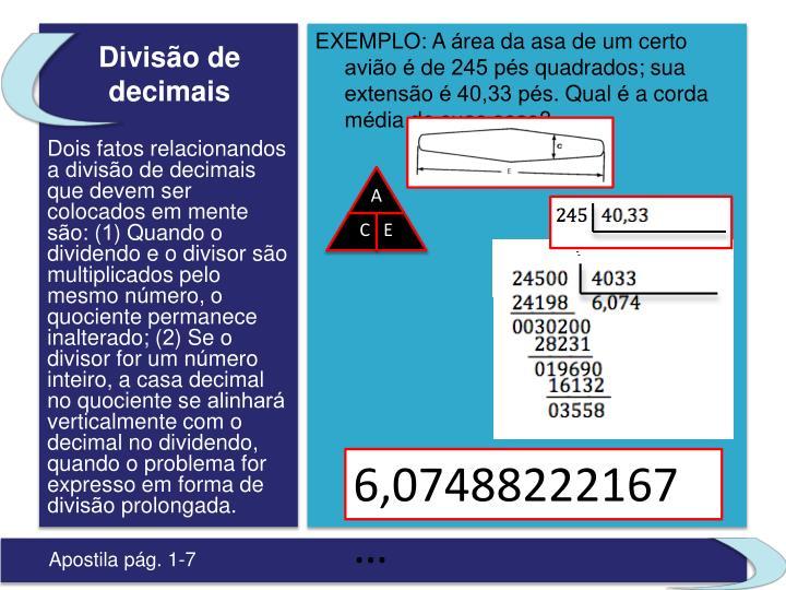 Divisão de decimais