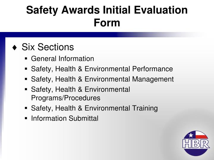Safety Awards Initial Evaluation Form