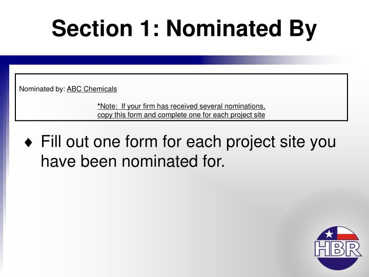 Section 1 nominated by