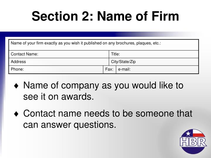 Section 2: Name of Firm