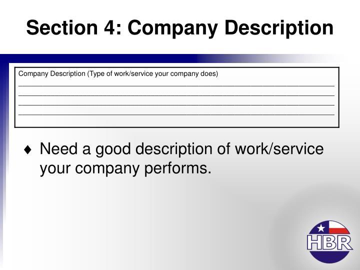 Section 4: Company Description