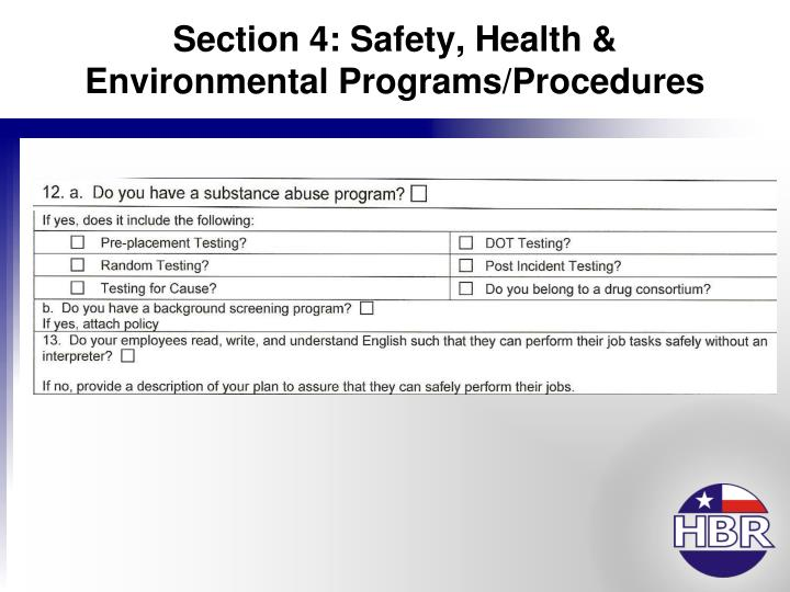 Section 4: Safety, Health & Environmental Programs/Procedures