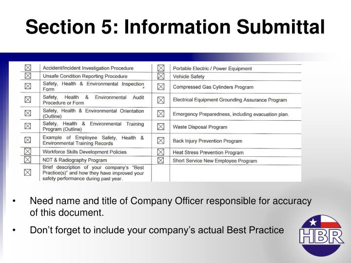 Section 5: Information Submittal