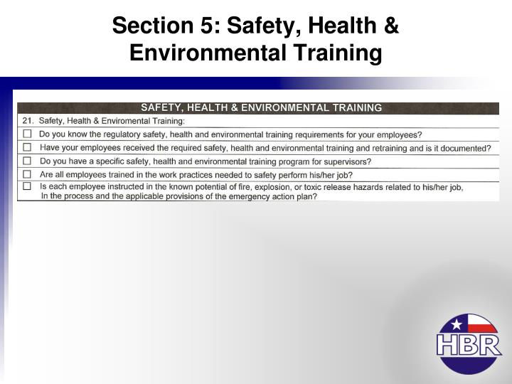 Section 5: Safety, Health & Environmental Training