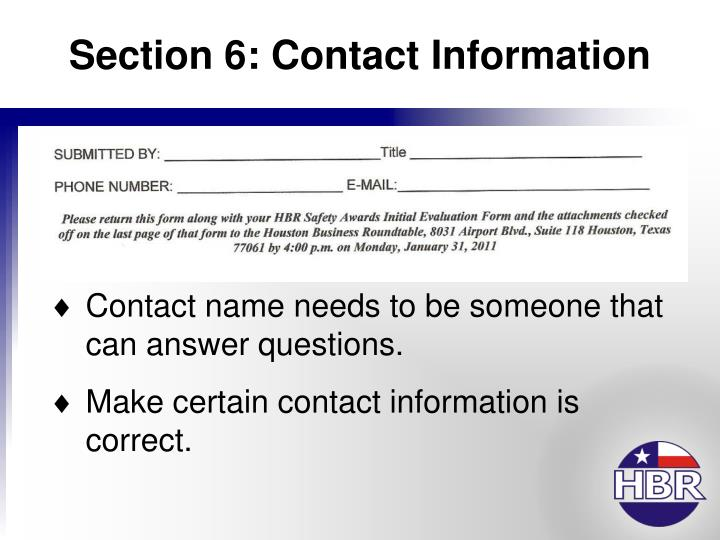 Section 6: Contact Information