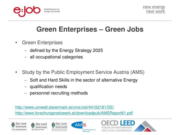 Green Enterprises – Green Jobs
