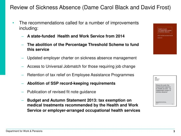 Review of Sickness Absence (Dame Carol Black and David Frost)