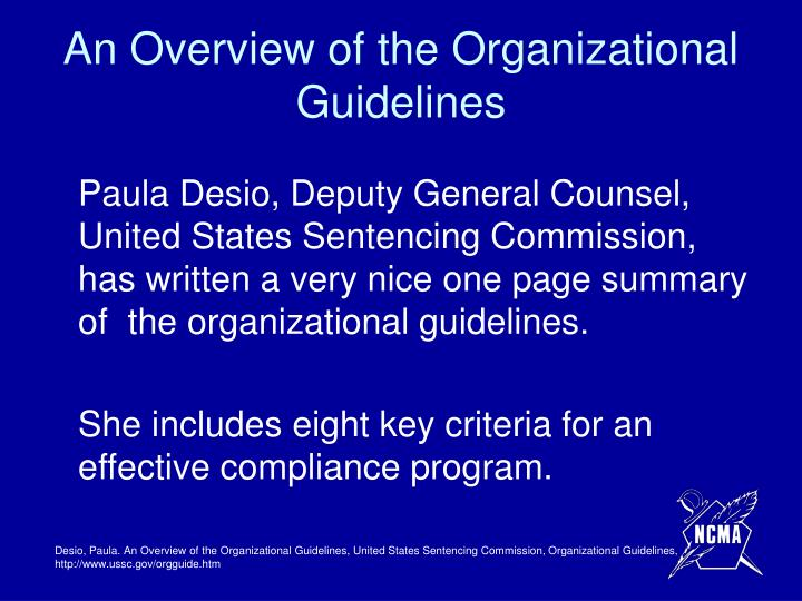 An Overview of the Organizational Guidelines
