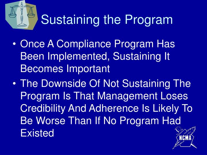Sustaining the Program