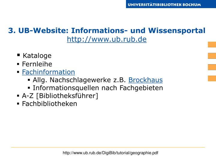 3. UB-Website: Informations- und Wissensportal