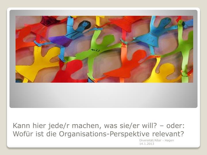 Kann hier jede/r machen, was sie/er will? – oder: Wofür ist die Organisations-Perspektive relevant