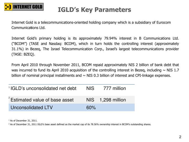 IGLD's Key Parameters