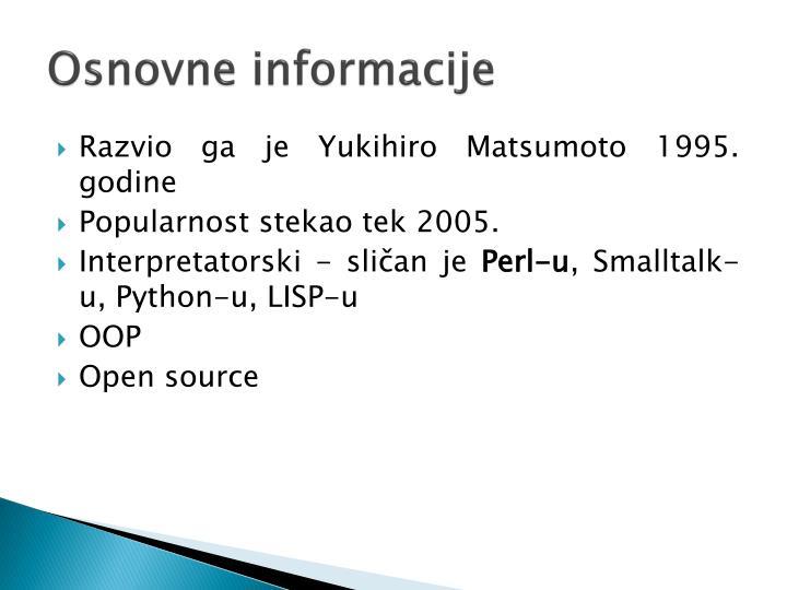Osnovne informacije