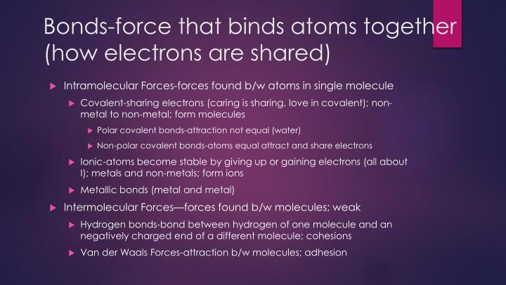 Bonds-force that binds