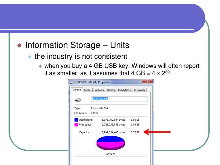 Information Storage – Units