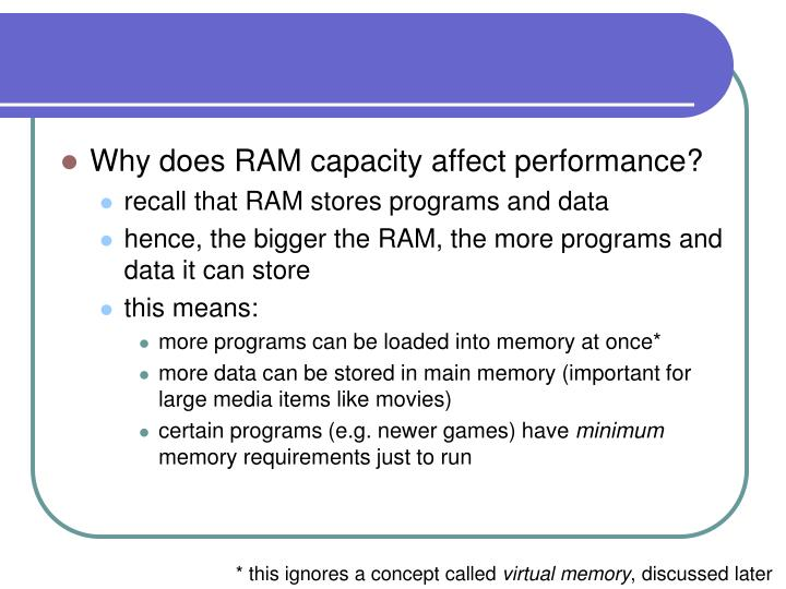 Why does RAM capacity affect performance?