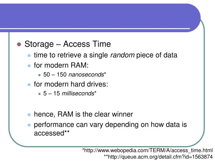 Storage – Access Time