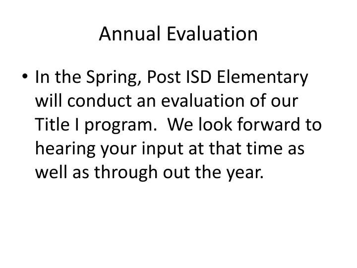 Annual Evaluation