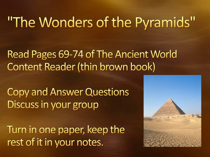 """The Wonders of the Pyramids"""