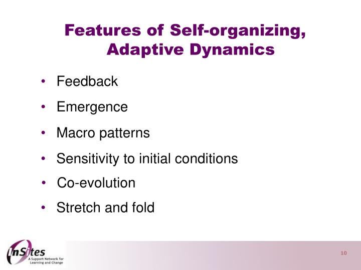 Features of Self-organizing,