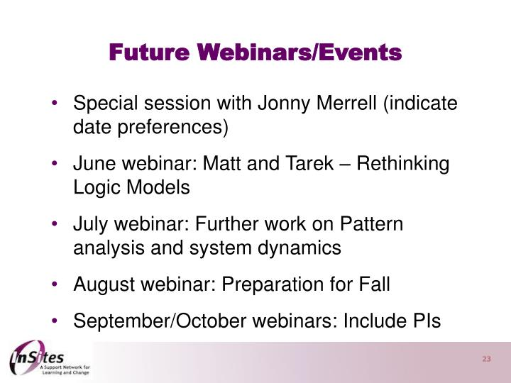 Future Webinars/Events