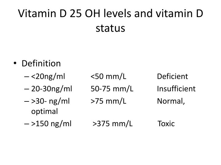 Vitamin D 25 OH levels and vitamin D status