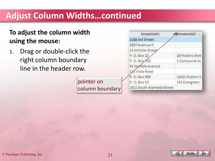 Adjust Column