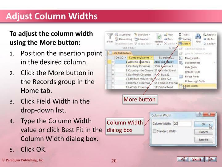 Adjust Column Widths