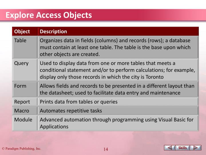 Explore Access Objects