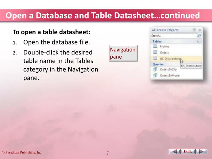 Open a Database and Table Datasheet…continued
