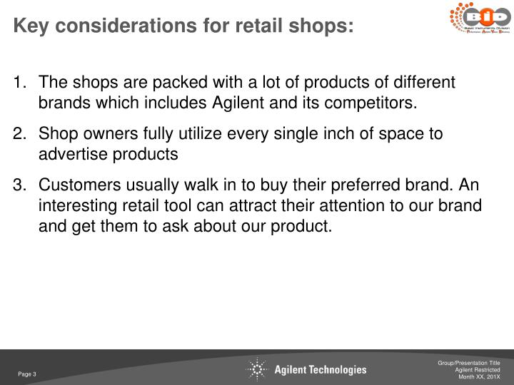 Key considerations for retail shops: