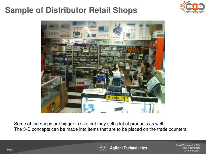 Sample of Distributor Retail Shops