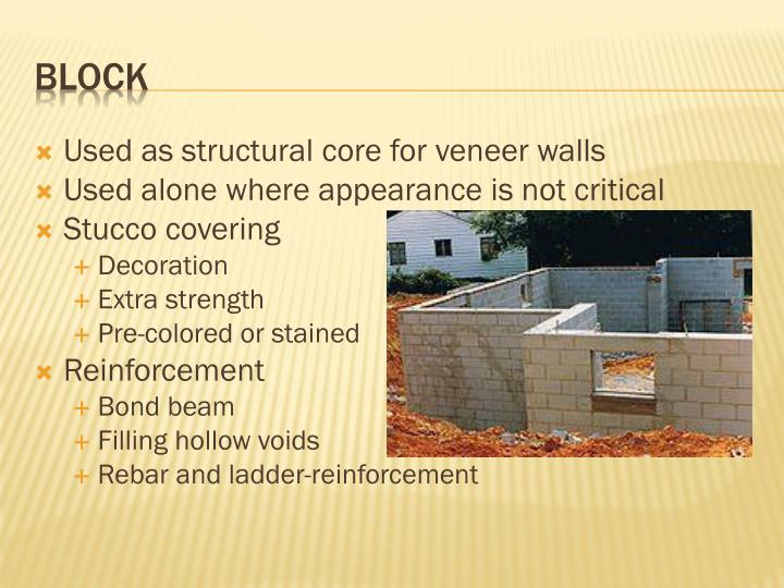 Used as structural core for veneer walls