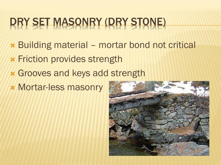 Building material – mortar bond not critical