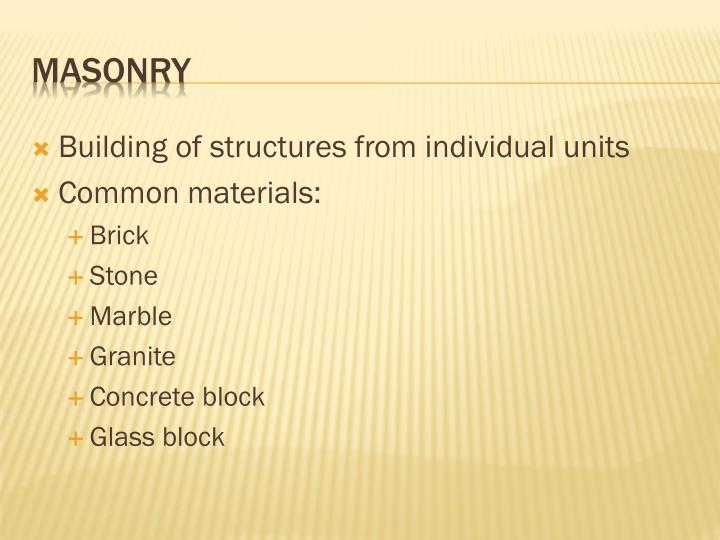 Building of structures from individual units