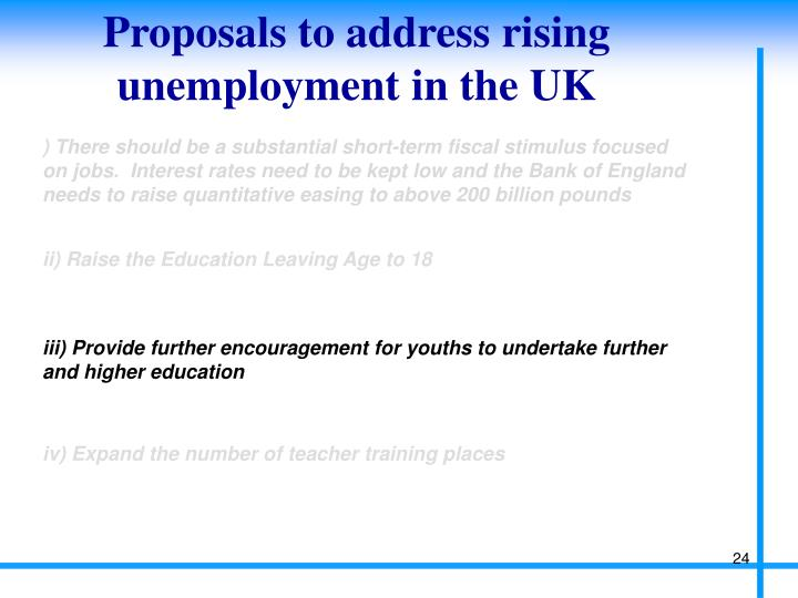 Proposals to address rising unemployment in the UK