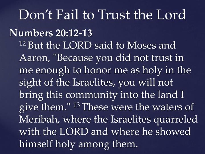 Don't Fail to Trust the Lord
