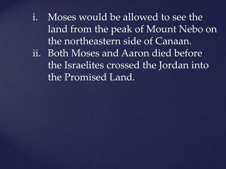 Moses would be allowed to see the land from the peak of Mount Nebo on the northeastern side of Canaan.