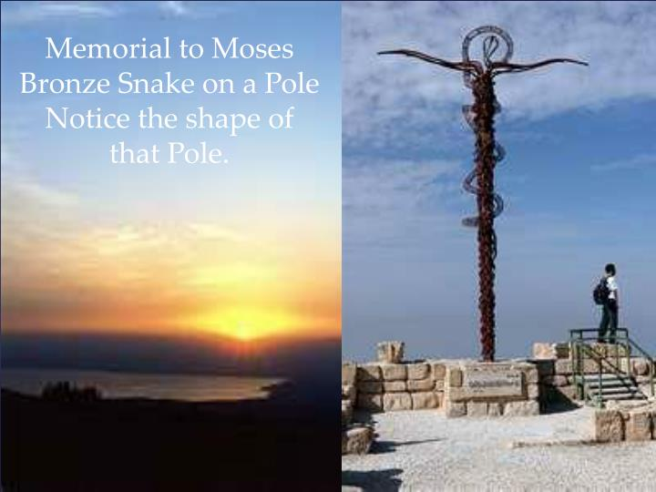 Memorial to Moses Bronze Snake on a Pole Notice the shape of that Pole.