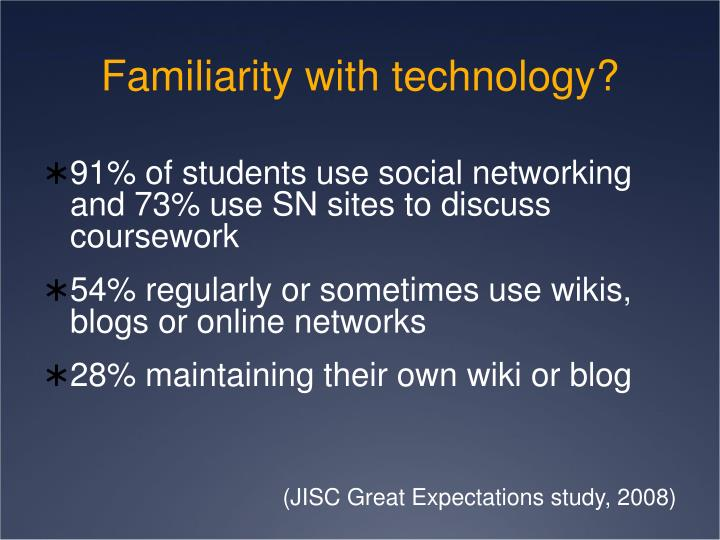 Familiarity with technology?