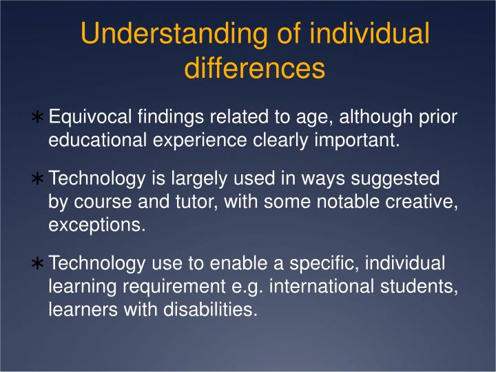Understanding of individual differences