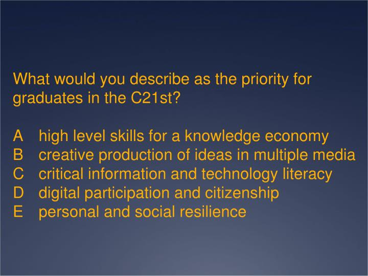 What would you describe as the priority for graduates in the C21st?