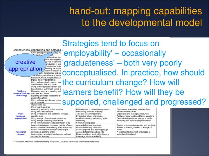 hand-out: mapping capabilities to the developmental model