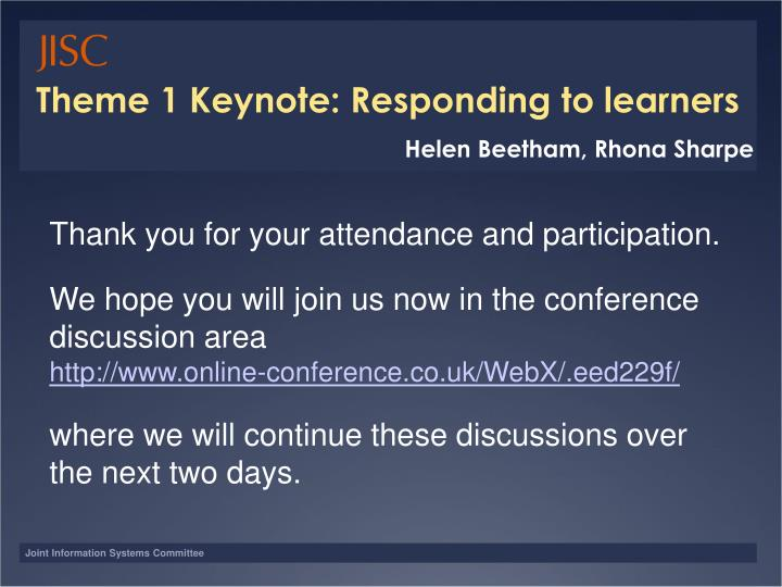 Theme 1 Keynote: Responding to learners