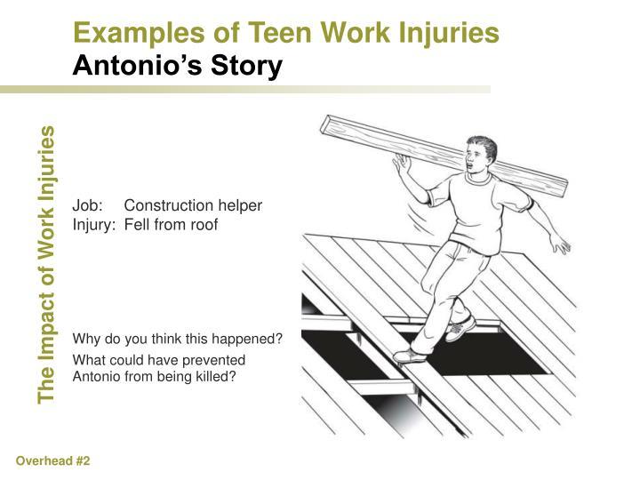 Examples of Teen Work Injuries