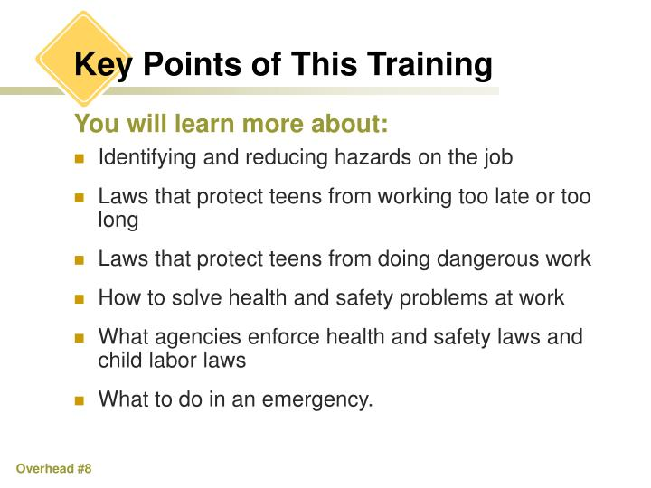 Key Points of This Training